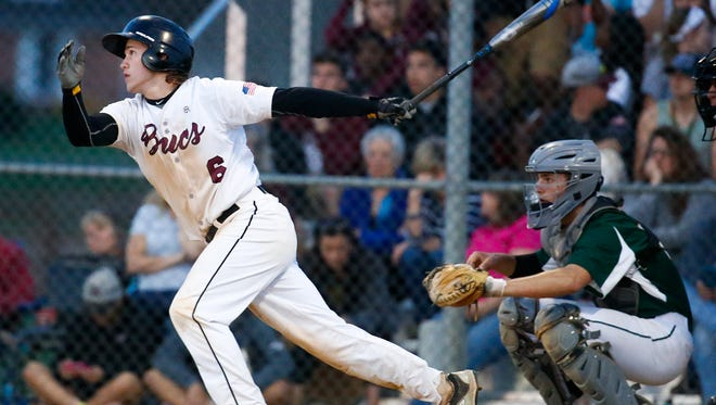 Caravel's Joey Silan watches his third inning RBI hit bring in the only run in Caravel's 1-0 home win against St. Mark's Wednesday