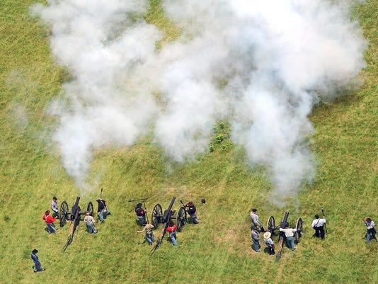 Aerial photograph of the Pickett's Charge re-enactment in Gettsyburg on June 30, 2013.