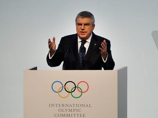 IOC President Thomas Bach speaks during the opening ceremony of the 132nd IOC session ahead of the 2018 Winter Olympics in Gangneung, South Korea, Monday, Feb. 5, 2018. (AP Photo/Jae C. Hong)