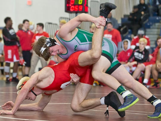 170lb- South Plainfield's Chris Maszczak wins against Delsea's Brad Dobzanski. South Plainfield vs Delsea in NJSIAA Group III team wrestling finals.  