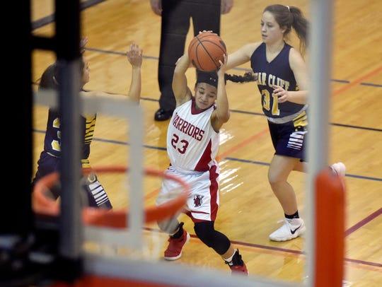 Susquehannock's Jayla Galbreath drives against Cedar