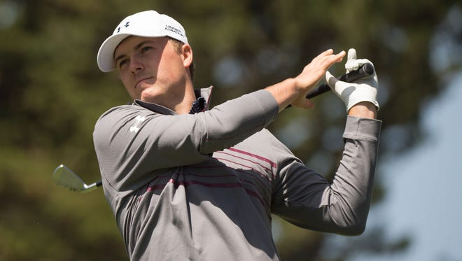 April 29, 2015; San Francisco; Jordan Spieth tees off on the second hole during the first day of the World Golf Championships-Cadillac Match Play at TPC Harding Park.