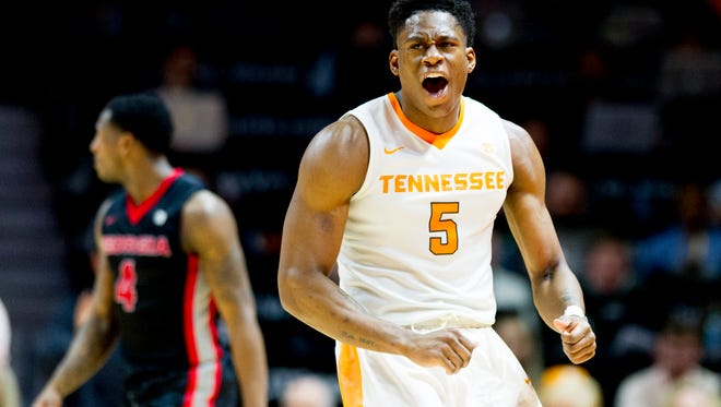 Tennessee forward Admiral Schofield (5) celebrates after scoring against Georgia.