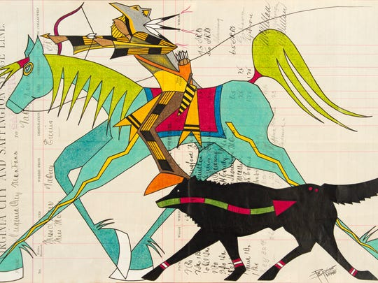 """Wolf Trail Medicine"" by John Isaiah Pepion is an example of his contemporary twist on traditional ledger art."