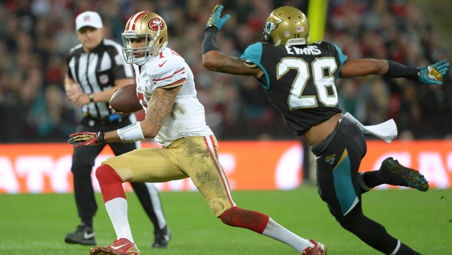 49ers QB Colin Kaepernick beat the Jaguars with his arm and, mostly, his legs in London.