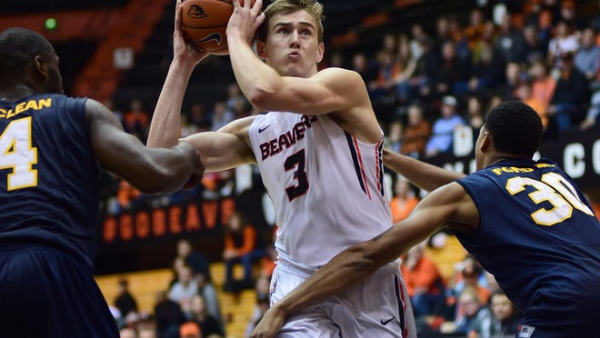 Oregon State freshman forward Tres Tinkle, who is second on the team in scoring, had 23 points and 11 rebounds in the Beavers last game against Quinnipiac on Dec 21 at Gill Coliseum.