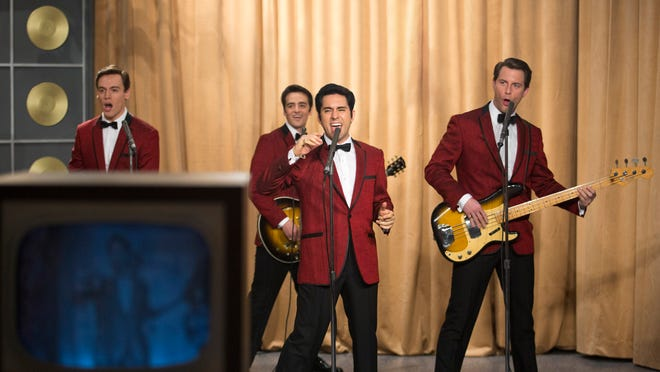 """Erich Bergen as stars as Bob Gaudio, from left, Vincent Piazza as Tommy DeVito, John Lloyd Young as Frankie Valli and Michael Lomenda as Nick Massi in """"Jersey Boys."""""""