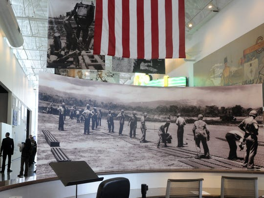 The front lobby of the U.S. Navy Seabee Museum.