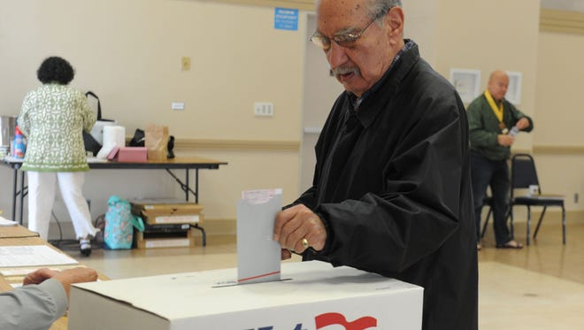 Charles Valdivia votes Tuesday at the South Oxnard Community Center in the Oxnard recall special election. Mayor Tim Flynn and council members Carmen Ramirez, Bert Perello and Oscar Madrigal survived the recall.