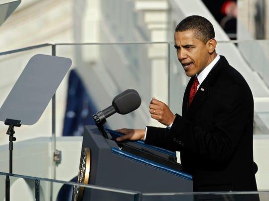Obama gives his inaugural address on Jan. 20, 2009.