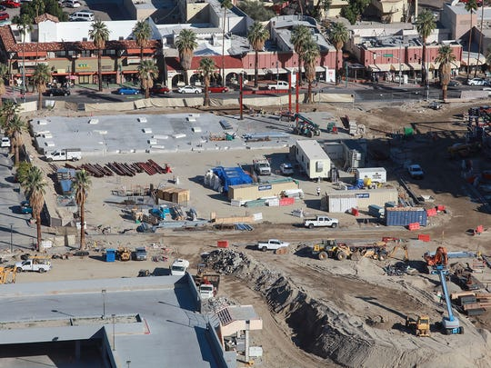 Construction continues on Block B of the downtown revitalization project in Palm Springs, February 14, 2017.