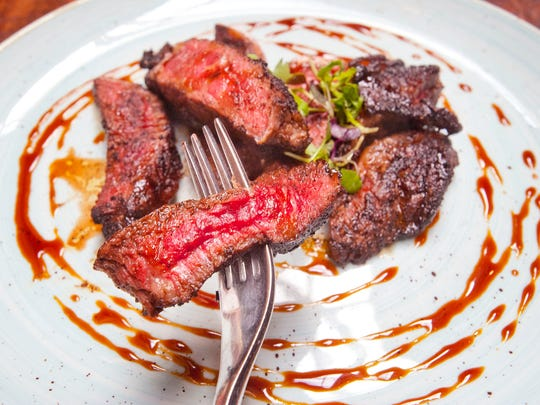 Le Moo Restaurant Chef Hayley Charron's espresso chili rubbed ribeye is coated with a mixture of ground espresso, cajun seasoning, bourbon smoked paprika, granulated onion, salt and pepper.
