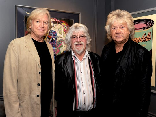Justin Hayward, left, Graeme Edge and John Lodge of