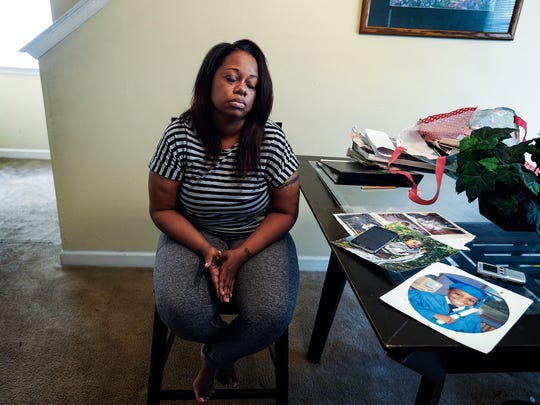 Talisha Brooks mourns the death of her son Dejuan Hill, one of the two young men shot and killed near Crosstown Concourse Sunday night. Hill and Deandre Rogers, both 18 years old, where among six young men and teens riding in the same car that was involved in a drive-by shooting.