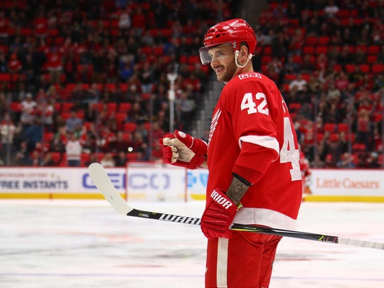 Martin Frk of the Detroit Red Wings celebrates a second
