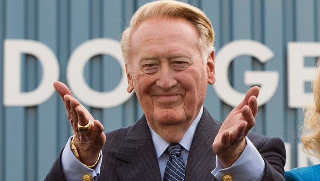 Vin Scully, shown at the April ceremony renaming Elysian Park Avenue as Vin Scully Avenue, begins his final homestand this week.