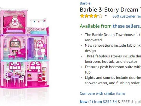 A Barbie dreamhouse on Amazon.