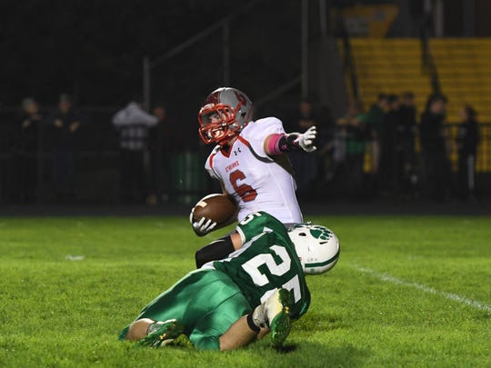 Margaretta's Collin Lane makes a tackle Friday against SJCC.