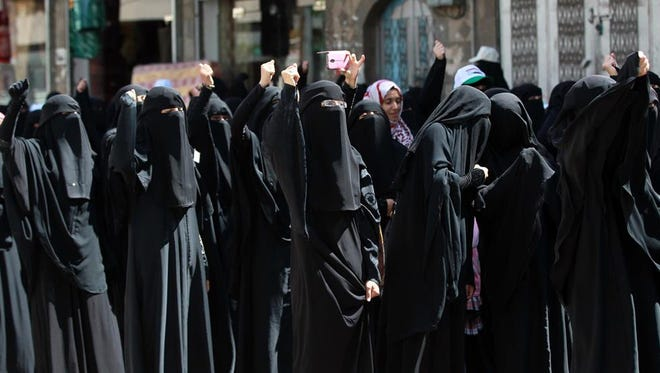 Yemeni women rally in support of the Shiite Houthi movement on March 31.