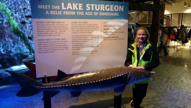 Elena Guc stands beside a lake sturgeon display at the DNR Outdoor Adventure Center in Detroit. Elena is fascinated by sturgeon and loves to share her knowledge with others.