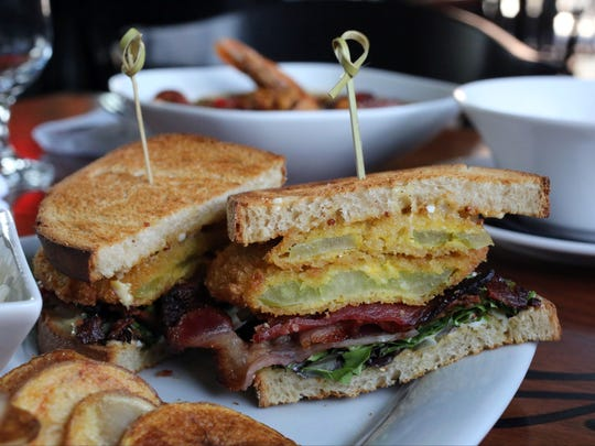 The fried green tomato BLT at The Parish Restaurant on Main Street in New Paltz, May 19, 2017.