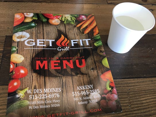 One of the Get Fit Grill menus at the West Des Moines