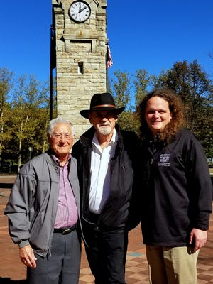 Rock 'n' roll legend and Corning native Duane Eddy, center, joins Corning Mayor Rich Negri, left, and WENY radio host Frank Acomb during a visit to his hometown.