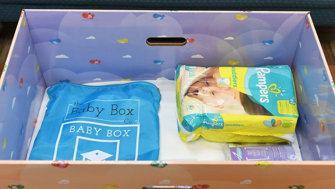 A baby box sits in the office of a Washington D.C. Council member on July 24, 2017.
