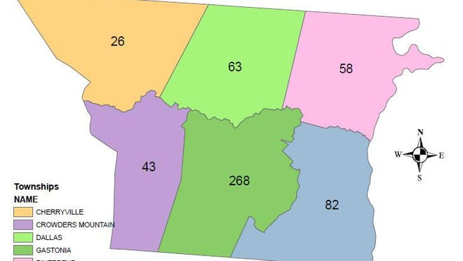 Number of COVID-19 cases in Gaston County divided by townships.