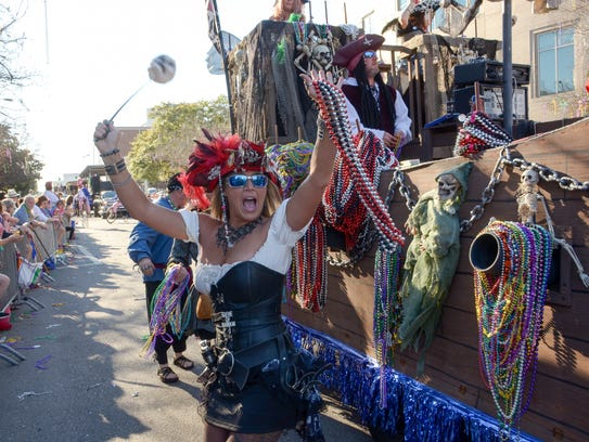 The Pensacola Grand Mardi Gras Parade will roll down the streets of downtown Pensacola on Saturday. A meet and greet is planned with the parade Grand Marshals, the coach and members of the University of West Florida Argonauts football team, before the parade.