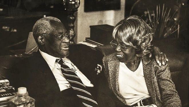This black and white portrait of the Rev. Cephus and Verlene McGee is one of many taken by Mansfield University senior Emilee Andrews that will be part of an exhibition Saturday.
