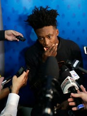 Collin Sexton, from Alabama, sparks to the media at the NBA draft combine.