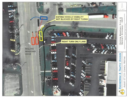 A map of the planned right turn lane upgrades near