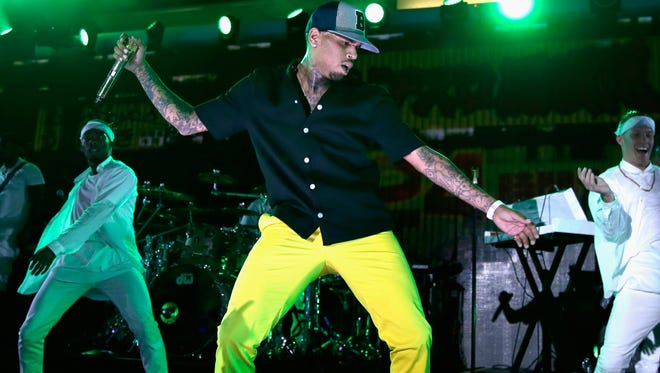 Chris Brown onstage during The iHeartRadio Summer Pool Party at Caesars Palace on May 30, 2015 in Las Vegas, Nevada.