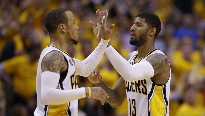 Paul George (right), Monta Ellis and the Pacers will play the Denver Nuggets in London this season.