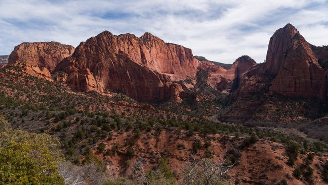 The view from an overlook in Kolob Canyon Sunday, April 1, 2018.