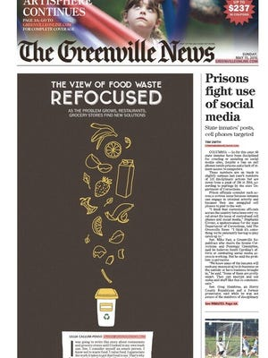 The digital front page of the Greenville News