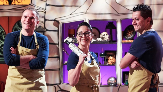 Chefs Mike Brown, Liz Marek and Christophe Rull of Team Ghoul'd, as seen on Food Network's Halloween Wars, Season 7.