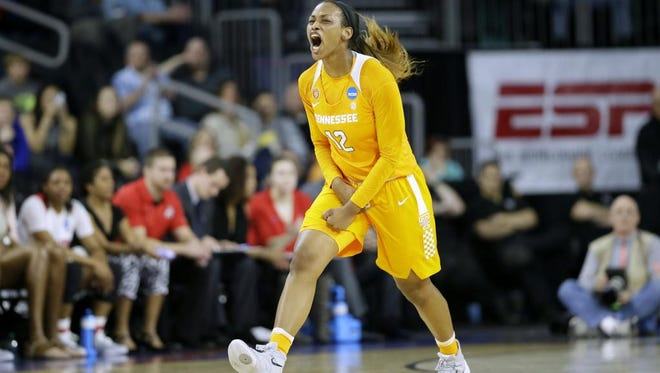 Tennessee forward Bashaara Graves reacts after making a basket against Ohio State in an NCAA regional semifinal on March 25, 2016 in Sioux Falls, S.D.