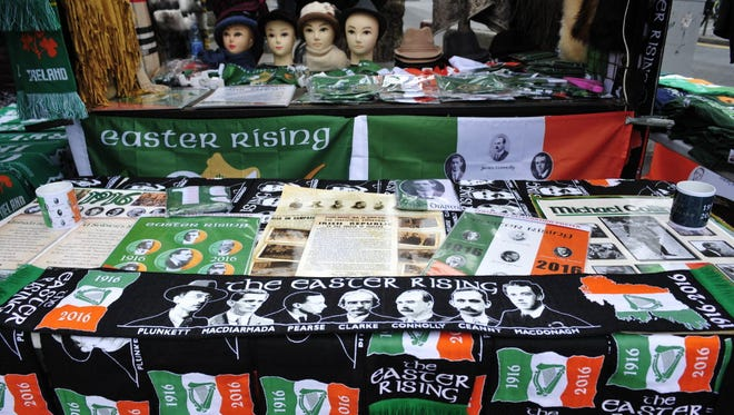 Souvenir memorabilia of the 1916 Easter Rising pictured for sale in Dublin on March 24.