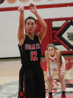 Indian Hill junior Ellie Schaub sinks a free throw for the Lady Braves.