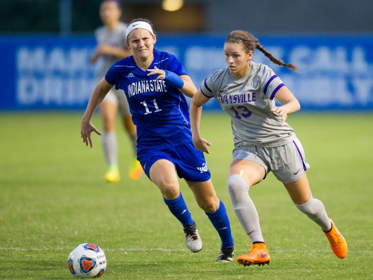 Indiana State's Maggie Richard (11) and Evansville's Montana Portenier (13) go for the ball during their game at Arad McCutchan Stadium in Evansville, Wednesday, Oct. 19, 2016. Evansville beat Indiana State 2-1.