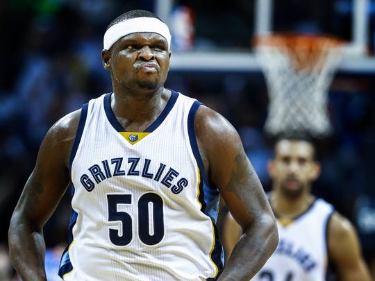Memphis Grizzlies forward Zach Randolph reacts after hitting a 3-pointer against the Oklahoma City Thunder during fourth quarter action at the FedExForum.