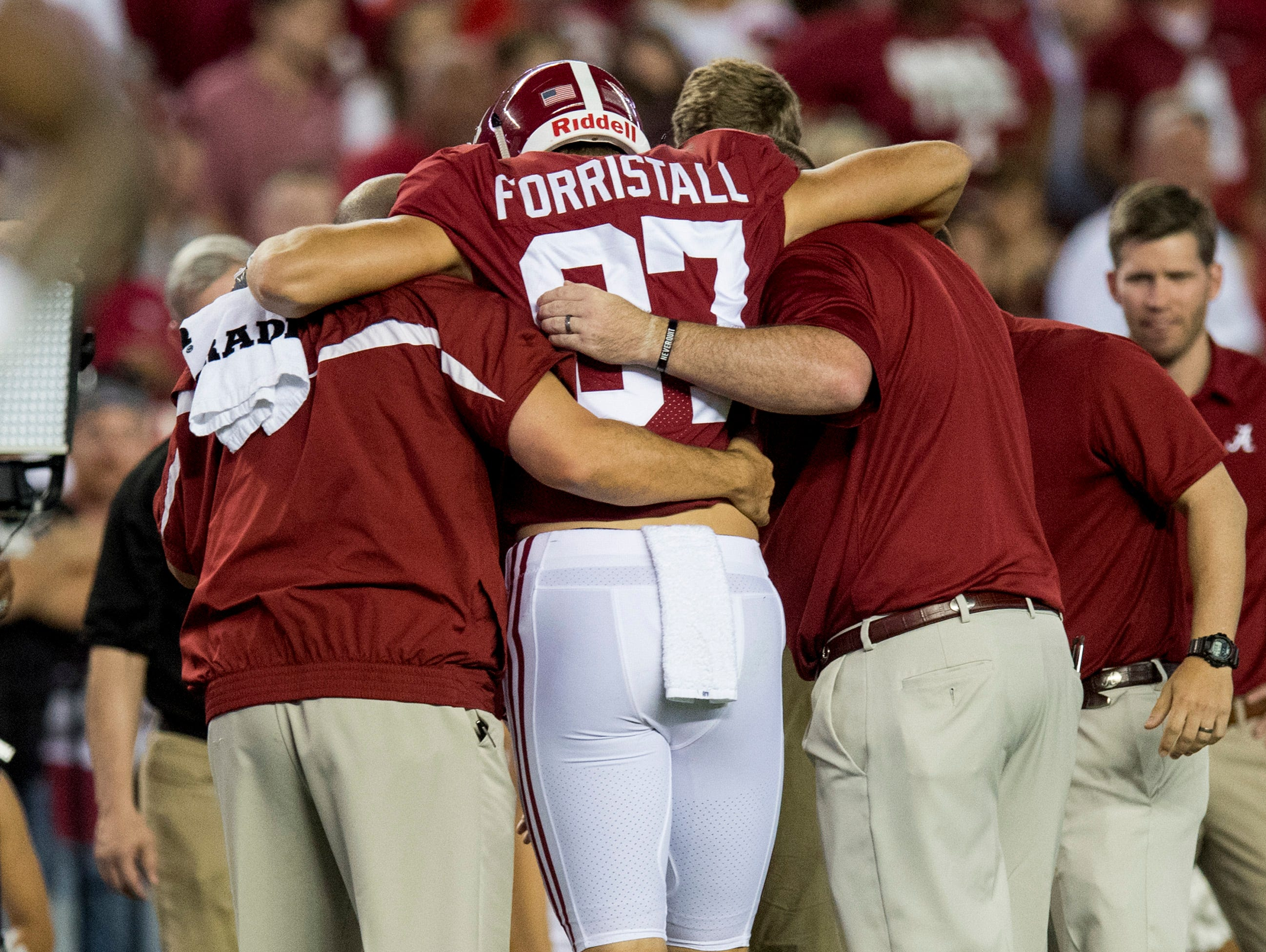Alabama tight end Miller Forristall (87) is injured against Colorado State at Bryant-Denny Stadium in Tuscaloosa, Ala., on Saturday September 16, 2017.(Mickey Welsh / Montgomery Advertiser)
