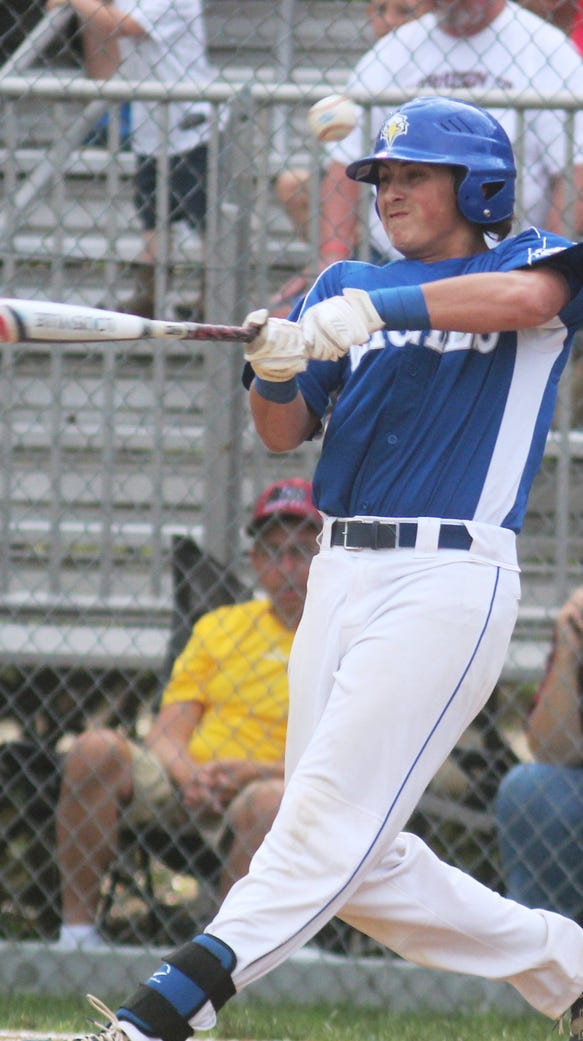 Jake Ohmer of Scott swings the bat against Harrison