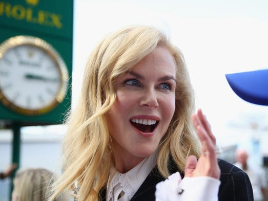Movie star Nicole Kidman in the Paddock during final