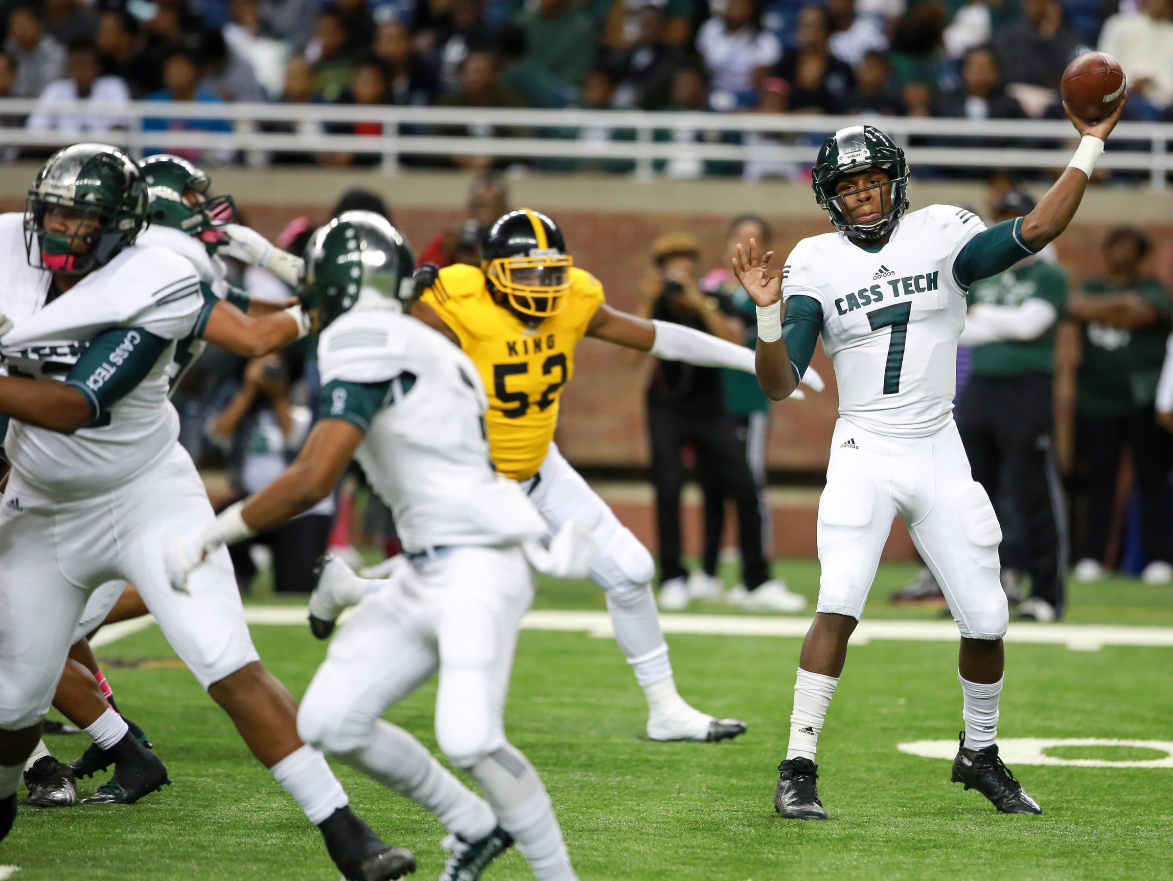Cass Tech Technicians' QB Rodney Hall throwas the ball against M.L. King Crusaders, during Division I Detroit Public School League 2015 Football Championships at Ford Field In Detroit, on Friday, Oct. 23, 2015. against M.L. King Crusaders, during Division I Detroit Public School League 2015 Football Championships at Ford Field In Detroit, on Friday, Oct. 23, 2015.