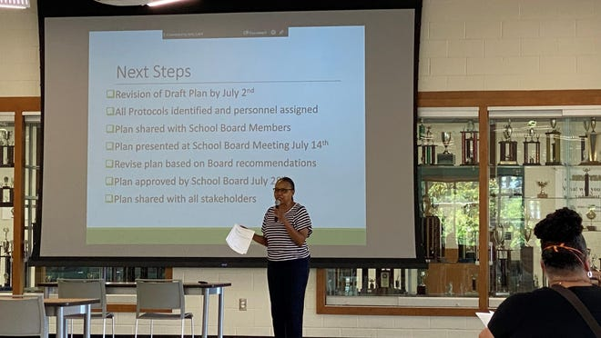 Executive Director of Middle Schools Phyllis Gamble speaking at the June 25 meeting of Aiken County's Back to School Task Force.