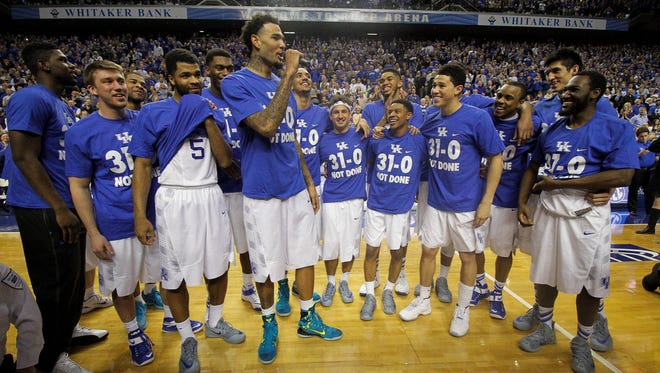 Kentucky's Willie Cauley-Stein (15) speaks to the crowd after defeating Florida 67-50, at Rupp Arena in Lexington, Ky. March 7, 2015.