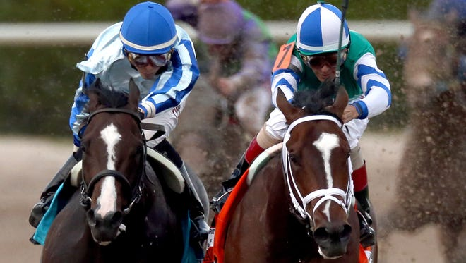 Upstart, left, ridden by Jose Ortiz, and Materiality, ridden by John Velazquez, lead the field out of turn four during the Florida Derby at Gulfstream Park Saturday. Materiality remained undef3eated with the victory.